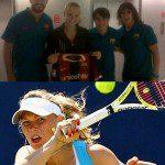 La bella tennista danese Wozniacki con la maglia del Barcellona, tanti sorrisi ma…
